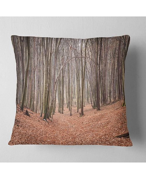 "Design Art Designart Leaves In The Thick Fall Forest Forest Throw Pillow - 16"" X 16"""