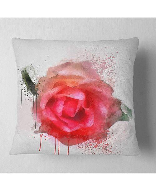 "Design Art Designart Beautiful Red Rose Watercolor Floral Throw Pillow - 16"" X 16"""