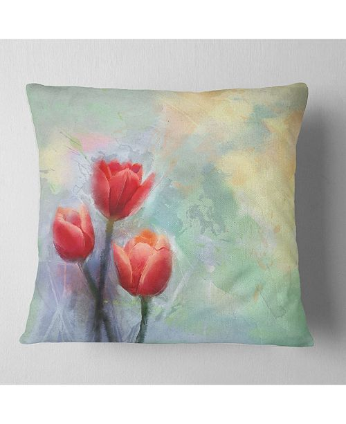 "Design Art Designart Red Tulips On Light Blue Watercolor Floral Throw Pillow - 16"" X 16"""