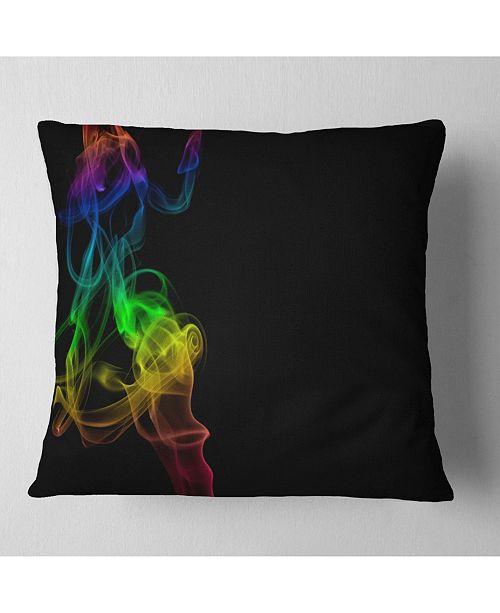 "Design Art Designart Colorful Abstract Smoke Waves Abstract Throw Pillow - 16"" X 16"""