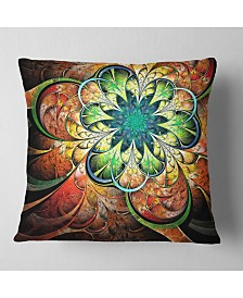 "Designart Colorful Fractal Flower Pattern Floral Throw Pillow - 16"" X 16"""