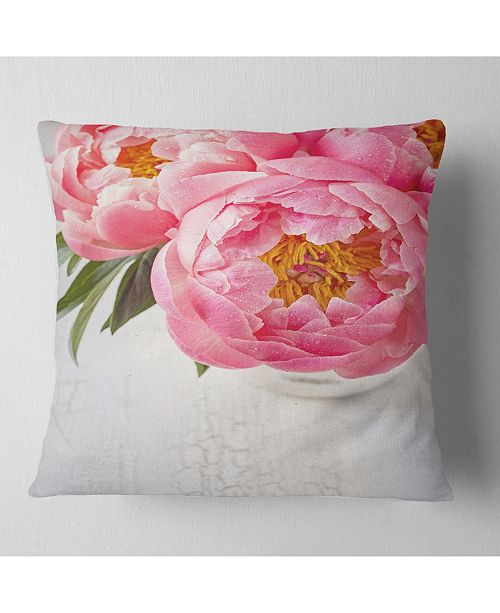 "Design Art Designart Full Bloom Pink Peony Flowers Floral Throw Pillow - 16"" X 16"""