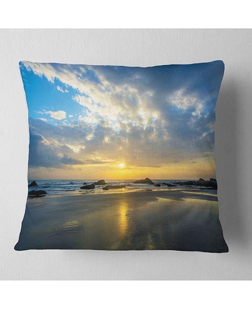 "Design Art Designart Beautiful Sunrise And Seashore Seashore Throw Pillow - 16"" X 16"""