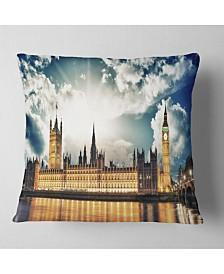 """Designart Big Ben Uk And House Of Parliament Throw Pillow - 16"""" X 16"""""""