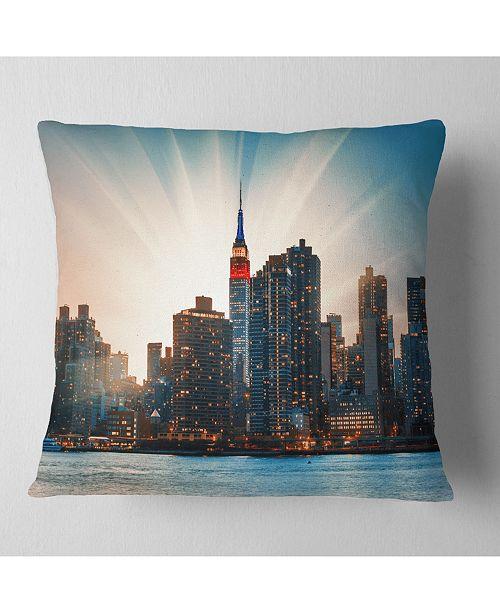 "Design Art Designart Manhattan Skyline At Bright Sunset Throw Pillow - 16"" X 16"""