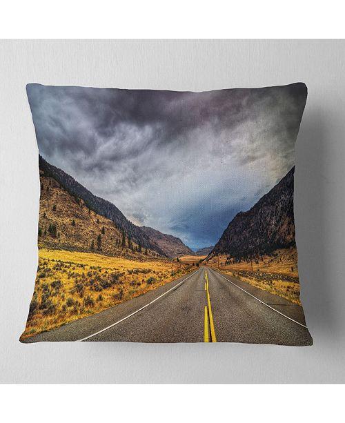 "Design Art Designart Mountain Desert Highway British Columbia Landscape Printed Throw Pillow - 16"" X 16"""