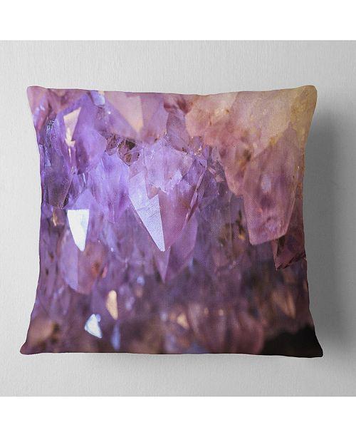 "Design Art Designart Purple White Natural Amethyst Geode Abstract Throw Pillow - 16"" X 16"""