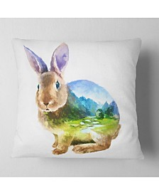 "Designart Rabbit Double Exposure Illustration Animal Throw Pillow - 16"" X 16"""
