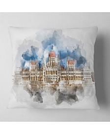 """Designart Hungarian Parliament Building Throw Pillow - 26"""" X 26"""""""