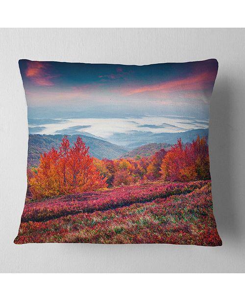 "Design Art Designart Autumn In The Carpathian Mountains Landscape Printed Throw Pillow - 16"" X 16"""