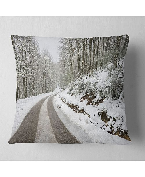 "Design Art Designart Snow Storm At Piornedo Spain Landscape Printed Throw Pillow - 16"" X 16"""