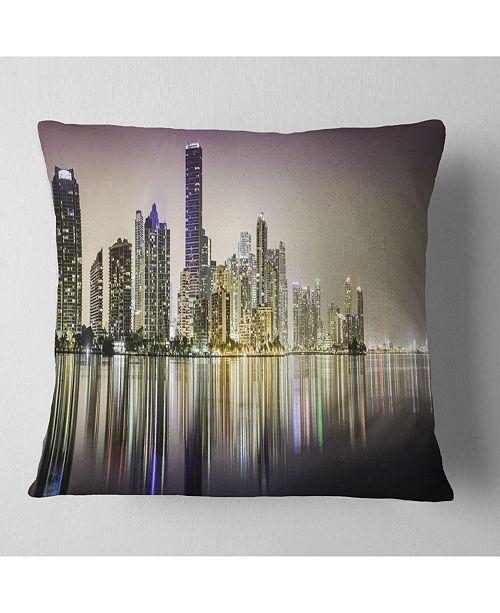 "Design Art Designart Miami Downtown Night Panorama Throw Pillow - 18"" X 18"""