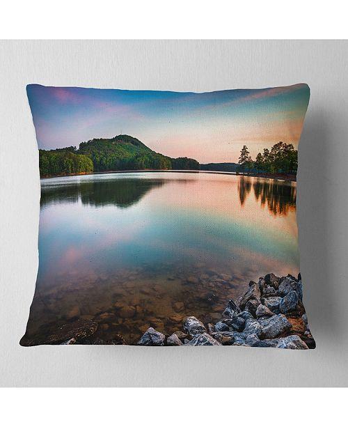 "Design Art Designart Lake Allatoona At Red Top Mountain Seashore Throw Pillow - 16"" X 16"""