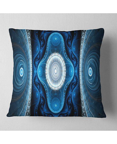 """Design Art Designart Cabalistic Blue Fractal Design Abstract Throw Pillow - 18"""" X 18"""""""