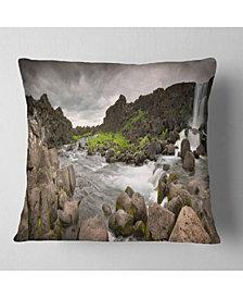 "Designart Dramatic Oxarafoss Waterfalls Abstract Throw Pillow - 26"" X 26"""
