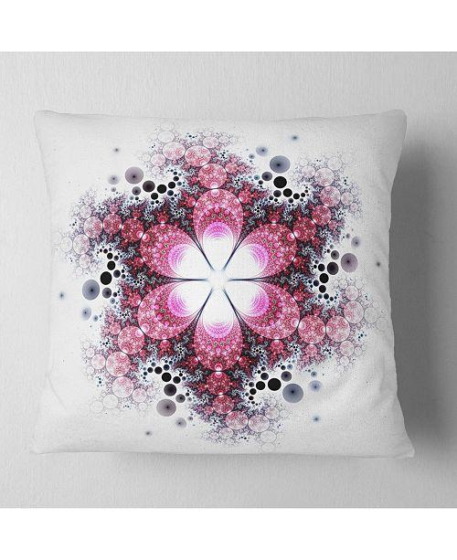 """Design Art Designart Violet Fractal Flower Pattern Abstract Throw Pillow - 16"""" X 16"""""""