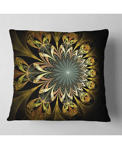 """Design Art Designart Dark Yellow Digital Flower Abstract Throw Pillow - 16"""" X 16"""""""