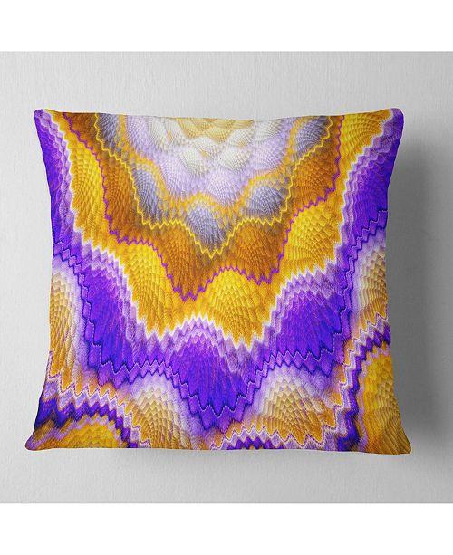 """Design Art Designart Blue Yellow Snake Skin Flower Abstract Throw Pillow - 16"""" X 16"""""""