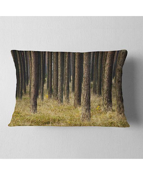 """Design Art Designart Dark Fall Forest With Green Grass Modern Forest Throw Pillow - 12"""" X 20"""""""