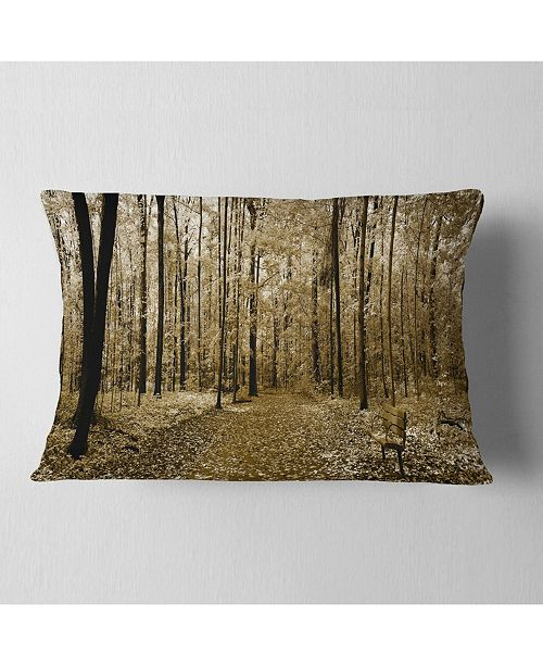 """Design Art Designart Wooded Forest Panoramic View Modern Forest Throw Pillow - 12"""" X 20"""""""