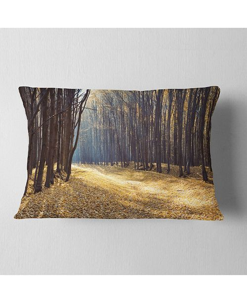 """Design Art Designart Path In The Fall Forest Panorama Forest Throw Pillow - 12"""" X 20"""""""