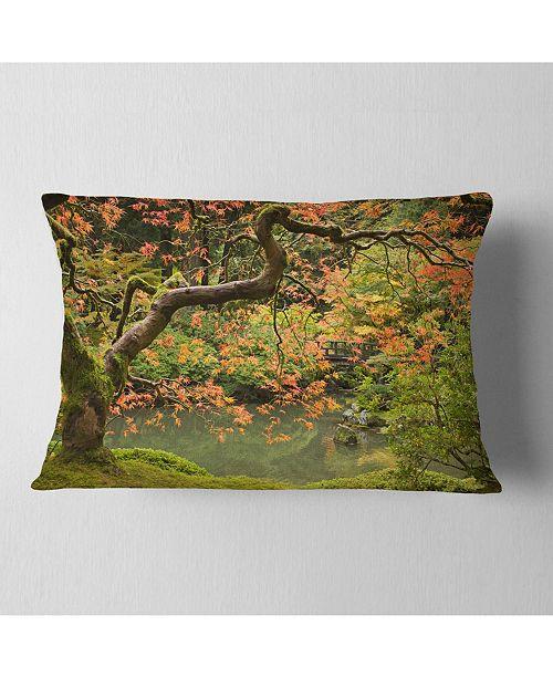 "Design Art Designart Japanese Garden Fall Season Landscape Printed Throw Pillow - 12"" X 20"""