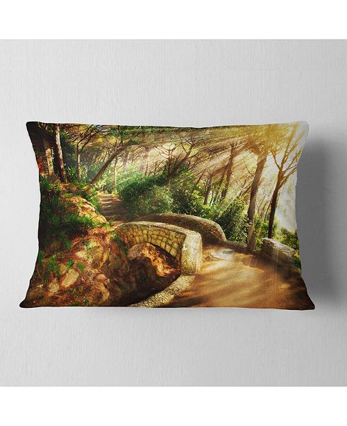 "Design Art Designart Bright Sun In Mystical Park Landscape Printed Throw Pillow - 12"" X 20"""