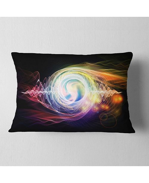 "Design Art Designart Bright Wave Particle In Air On Black Abstract Throw Pillow - 12"" X 20"""