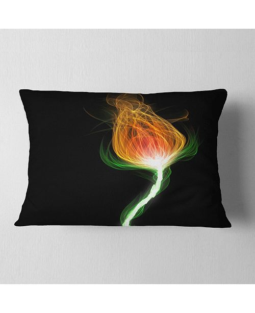 "Design Art Designart Fiery Fractal Flower With Stem Floral Throw Pillow - 12"" X 20"""