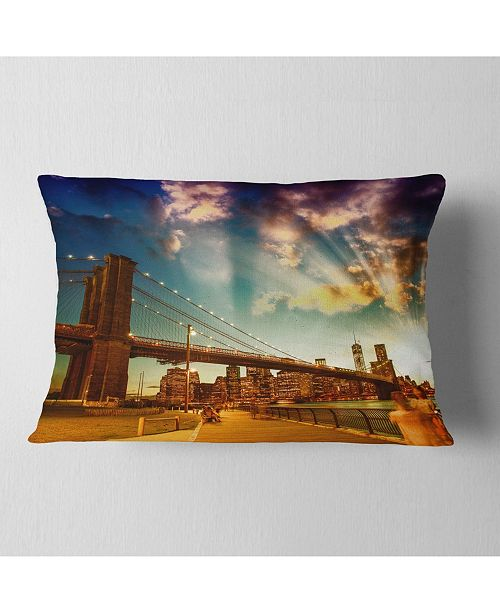 "Design Art Designart Relaxing In Brooklyn Bridge Park Cityscape Throw Pillow - 12"" X 20"""