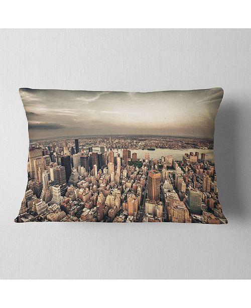 "Design Art Designart Manhattan Skyscrapers Aerial View Modern Cityscape Throw Pillow - 12"" X 20"""