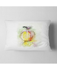 "Designart Perfume Bottle Watercolor Animal Throw Pillow - 12"" X 20"""