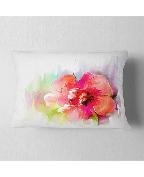 "Design Art Designart Beautiful Red Floral Watercolor Floral Throw Pillow - 12"" X 20"""