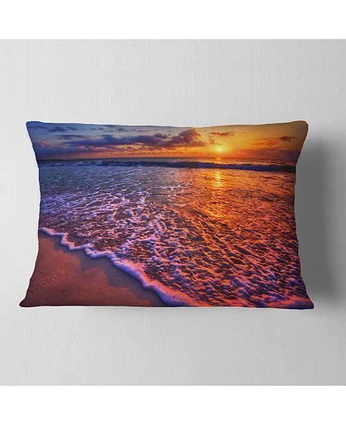 "Design Art Designart Colorful Sunset And Wavy Waters Seashore Throw Pillow - 12"" X 20"""