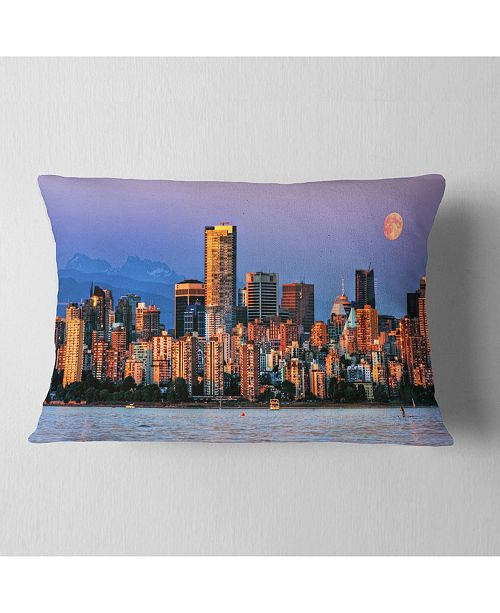 "Design Art Designart Vancouver Downtown Skyscrapers Throw Pillow - 12"" X 20"""