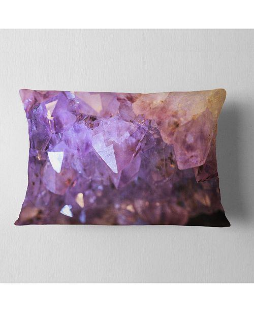 "Design Art Designart Purple White Natural Amethyst Geode Abstract Throw Pillow - 12"" X 20"""