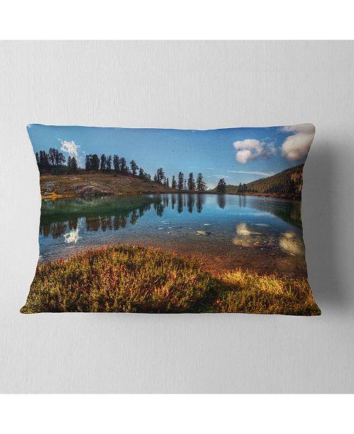"Design Art Designart Calm Mountain Lake And Clear Sky Landscape Printed Throw Pillow - 12"" X 20"""