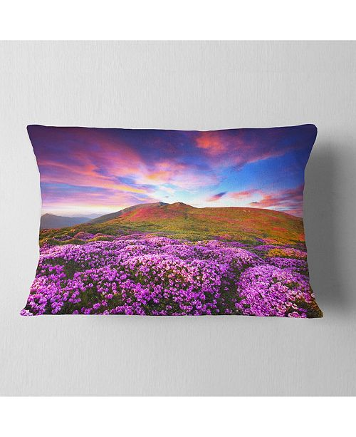 "Design Art Designart Magic Pink Rhododendron Flowers Landscape Printed Throw Pillow - 12"" X 20"""