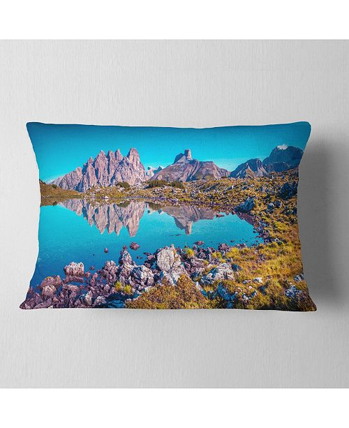 "Design Art Designart Lago Rienza Ursprung Panorama Seashore Throw Pillow - 12"" X 20"""