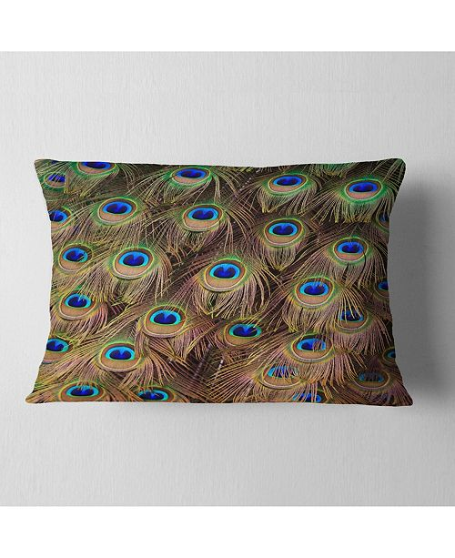 """Design Art Designart Peacock Bird Tail Feathers In Close Up Animal Throw Pillow - 12"""" X 20"""""""