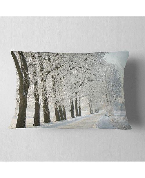 "Design Art Designart Winter Rural Road At Sunrise Forest Throw Pillow - 12"" X 20"""
