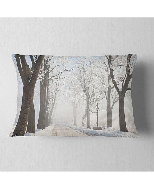 "Design Art Designart Misty Rural Road In Winter Forest Forest Throw Pillow - 12"" X 20"""