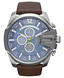 Diesel Men's Chronograph Mega Cheif Brown Leather Strap Watch 51mm DZ4281