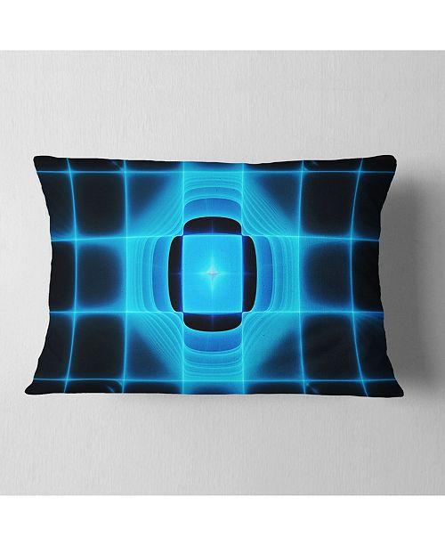 "Design Art Designart Blue On Black Thermal Infrared Visor Abstract Throw Pillow - 12"" X 20"""
