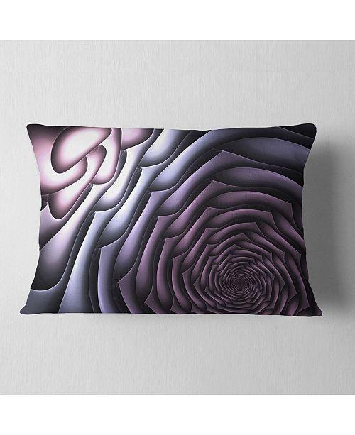 """Design Art Designart Purple Flower Shaped Fractal Art Abstract Throw Pillow - 12"""" X 20"""""""