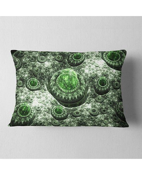 """Design Art Designart Exotic Green Fractal Landscape Abstract Throw Pillow - 12"""" X 20"""""""