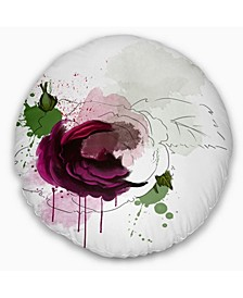 "Designart Purple Rose Sketch Watercolor Floral Throw Pillow - 16"" Round"