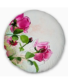 "Designart Purple Roses With Green Leaves Floral Throw Pillow - 16"" Round"