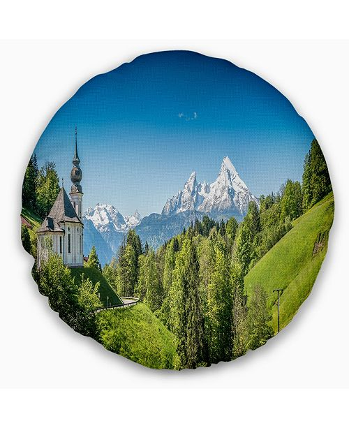 Design Art Designart Green Mountain View Of Bavarian Alps Landscape Printed Throw Pillow 16 Round Reviews Decorative Throw Pillows Bed Bath Macy S