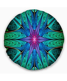 """Designart Turquoise Star Fractal Stained Glass Abstract Throw Pillow - 16"""" Round"""